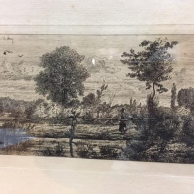 """Jules Michelin """"Le pont de bois près Vichy"""""""