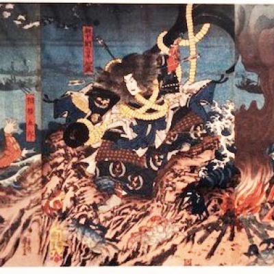 Estampe, Tomomori, lance dans la mer, Japon
