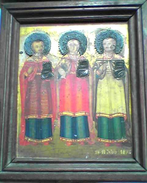Icône, trois Saints personnages, fin XIXe siècle